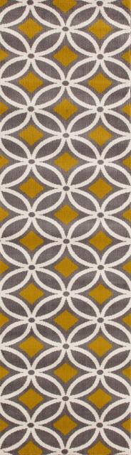 Contemporary Trellis Chain Gray-Yellow 2&x27;x7&x27; 2 Area Rug Runner.
