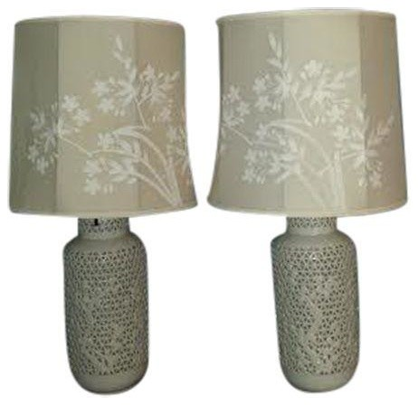 Reticulated Blanc De Chine Lamps   A Pair