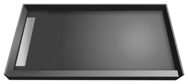 TileRedi WF3648L PVC 36x48 Single Curb Pan L Trench Contemporary Shower Pans