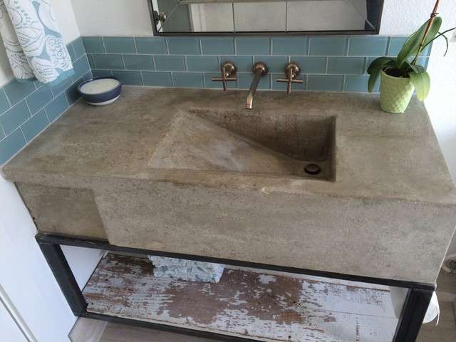 Marvelous How To Make A Concrete Kitchen Sink #2: Custom Concrete Sink Modern