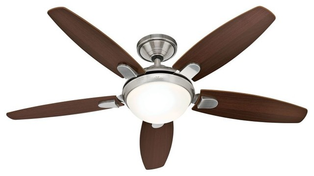 "Hunter Contempo 52"" Indoor Ceiling Fan, Brushed Nickel."