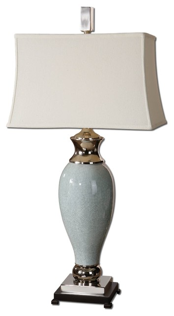 Uttermost Rossa 1-Light Crackled Light Blue Table Lamp.