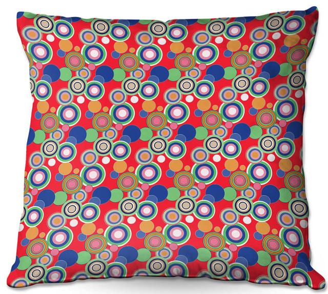 Circles Red Blue Outdoor Pillow 20 X20
