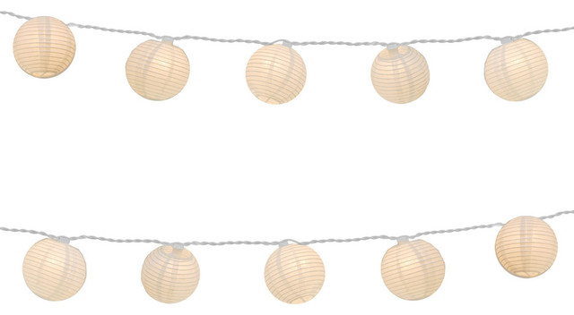 10 Round Paper Lanterns On Electric String Light Asian Outdoor Rope And String Lights By Jh Specialties Inc