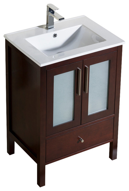 Inolav   Vanity Fulton 24 With Porcelain Top Sink, Dark Walnut   Bathroom  Vanities And