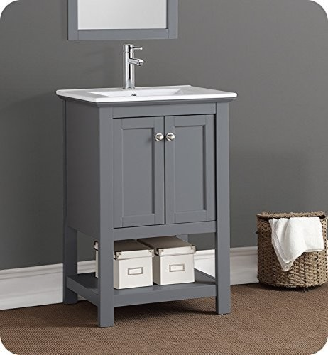 "Fresca Manchester 24"" Gray Traditional Bathroom Vanity."