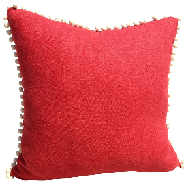 Decorative Pillows With Trim : Red Linen Pillow Cover With Off White PomPom Trim - Contemporary - Decorative Pillows - by ...