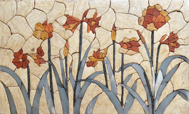 Flower Mosaic Mural Tile Art Contemporary Murals