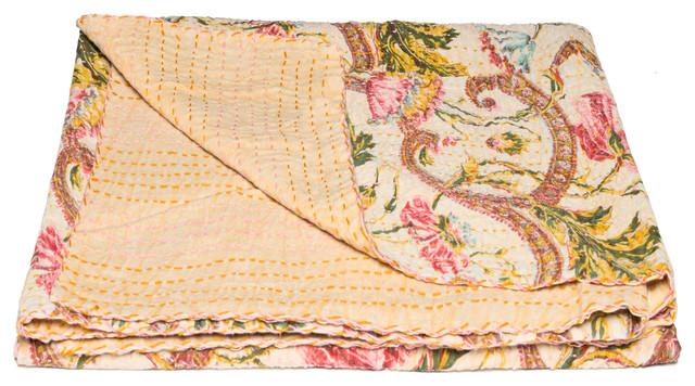 "100% Cotton Vintage Handmade Kantha Throw, 50""x70""."