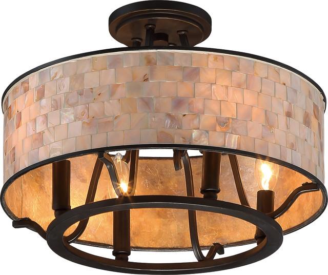 Luxury Moroccan Bronze Semi Flush Drum Ceiling Light Uql2050 Chicago Collection
