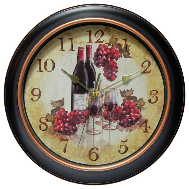 Valencia Silent Sweep Wine And Grapes Wall Clock, 12 ...