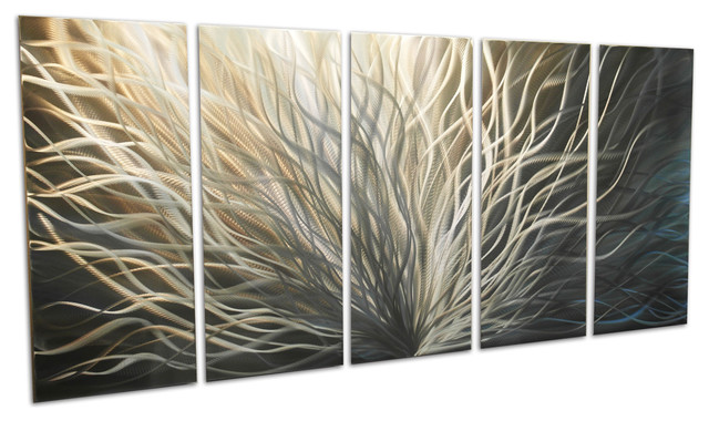 """""""Radiance Gold Silver"""" Large Metal Wall Art By Miles Shay"""