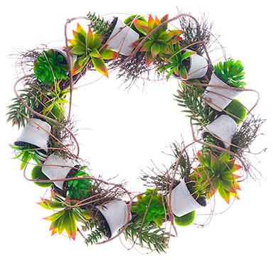 "2"" Succulent Garden Wreath."