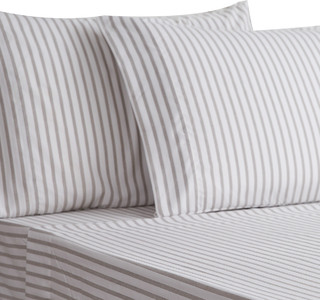 Cotton Quality Dimension Yarn Dyed Stripe Sheet Set, Blue, Cal King - Contemporary - Sheet And ...