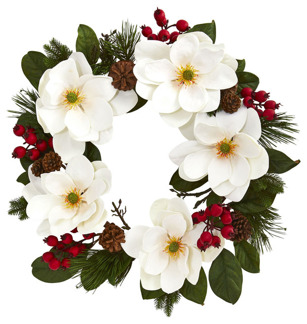 Nearly Natural Holiday Christmas Decor 26 Magnolia, Pine And Berries Wreath.