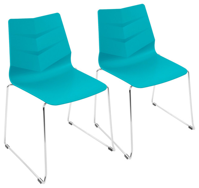 LumiSource Arrow Dining Chair, Turqouise, Set of 2
