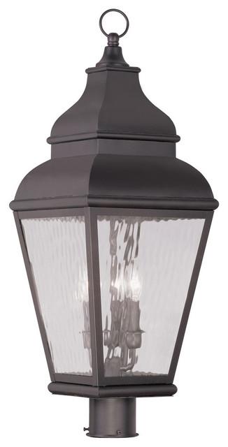 Livex Lighting 3-Light Bronze Outdoor Post Lantern.