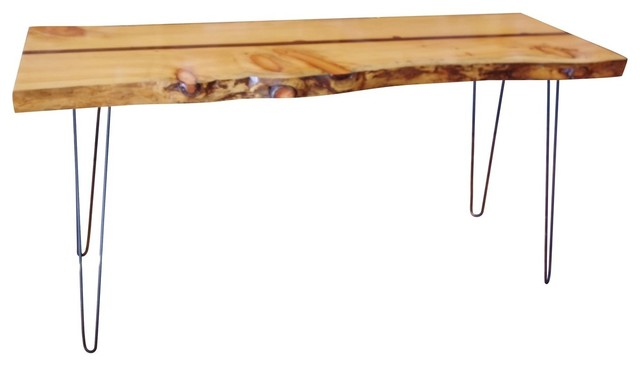 Live Edge Hairpin Wood Console Table Midcentury Console Tables