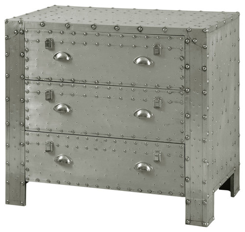Industrial 3-Drawer Chest, Aluminum and Chrome Rivet Details