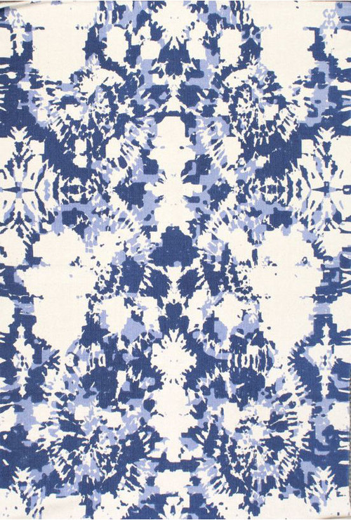 Tie-Dye Rug, Blue and White, 5