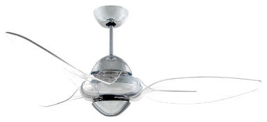 Vento Clover Indoor Chrome Ceiling Fan With 3 Clear Blades, Chrome, 54.