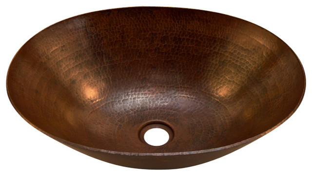 Oval Vessel Bathroom Copper Sink - Very Thick Gauge 14.