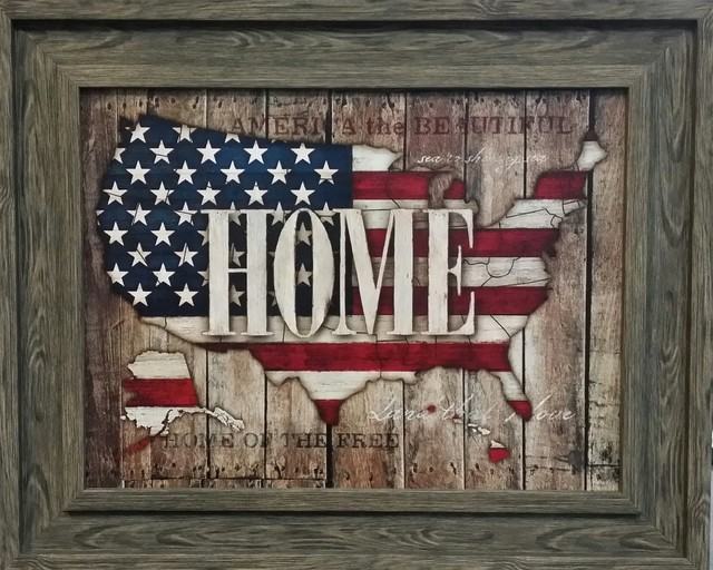 Home Us Map With American Flag Framed Art Farmhouse Wall - American-flag-us-map