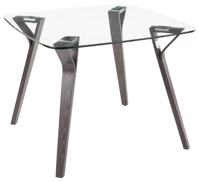 Folia Mid, Century Modern Dining Table, Dark Gray Wood/Clear Glass