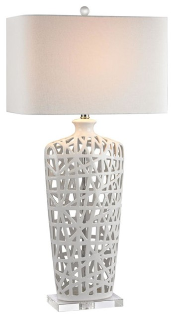 1 Light Standard Bulb Table Lamp, Clear.