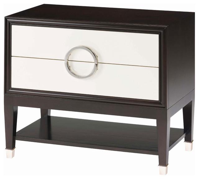 Delicieux Ryder Modern Art Deco Cream White Espresso Nightstand