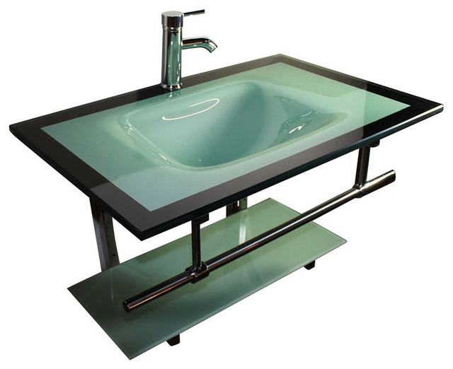 31  Wide Glass Wall Mount Sink Vanity Combo With Glass Shelf contemporary  bathroom. 31  Wide Glass Wall Mount Sink Vanity Combo With Glass Shelf