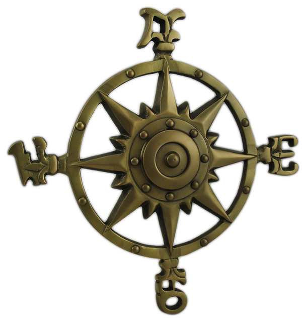 Antique Brass Finish Compass Rose Indoor Outdoor Wall
