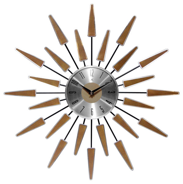 mid century wall clock Beam Vintage Style Sunburst Wall Clock   Midcentury   Wall Clocks  mid century wall clock