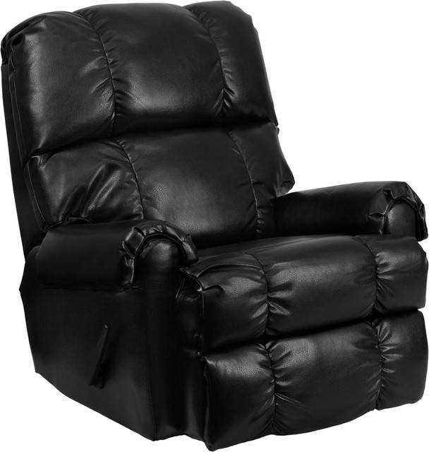 Contemporary Rocker Recliner, Ty Black Leather by Flash Furniture