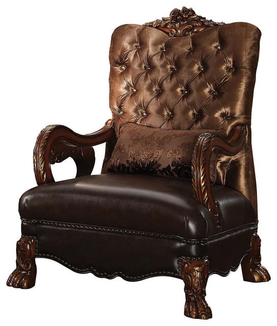Dresden Chair With 1 Pillow, Golden Brown Velvet and Cherry Oak