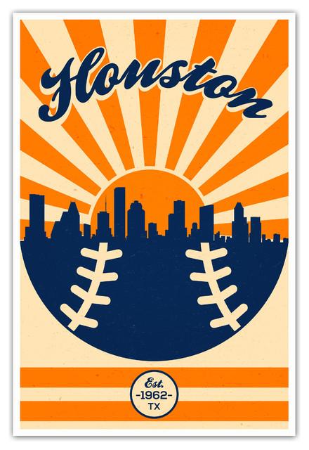Houston Astros Vintage Mlb Poster Canvas 16 Quot X24