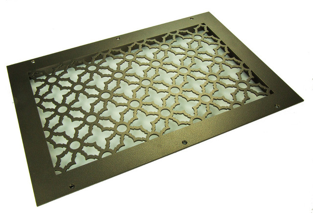Traditional Solid Steel Return Grille, Black, 12x12 Return.