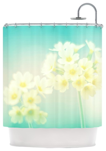 Monika Strigel Happy Spring Yellow Teal Shower Curtain