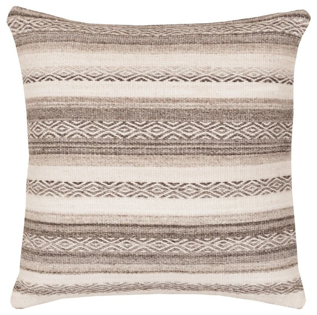 """Solid/striped Isabella Decorative Pillow, Gray-Neutral, Poly Filler Square 18""""."""