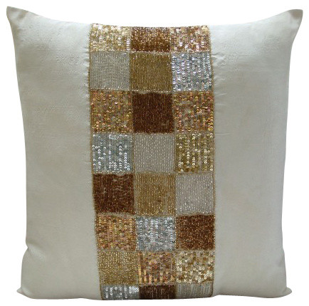 "Metallic 14""x14"" Art Silk Ivory Pillow Cases, Alice In Wonderland contemporary-"