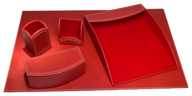 Dacasso Colors Faux Leather 5-Piece Office Organizing Desk Set, Rossa Red.