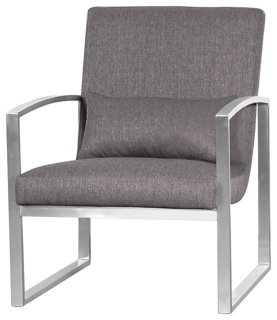 Leonard Contemporary Accent Chair, Brushed Stainless Steel With Gray Fabric by Armen Living