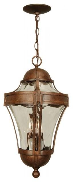 "Craftmade Z4221 Parish 21"" 3-Light Lantern Pendant, Aged Bronze."