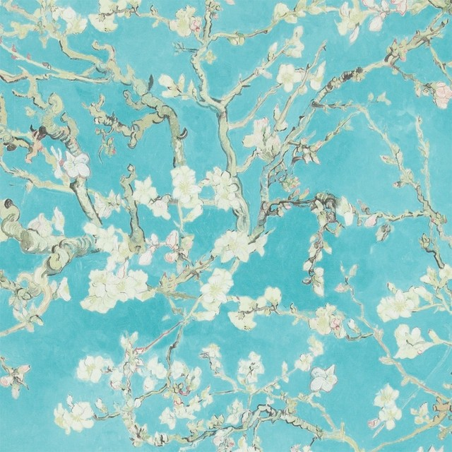 Blossoming Almond Trees Wallpaper Turquoise Double Roll