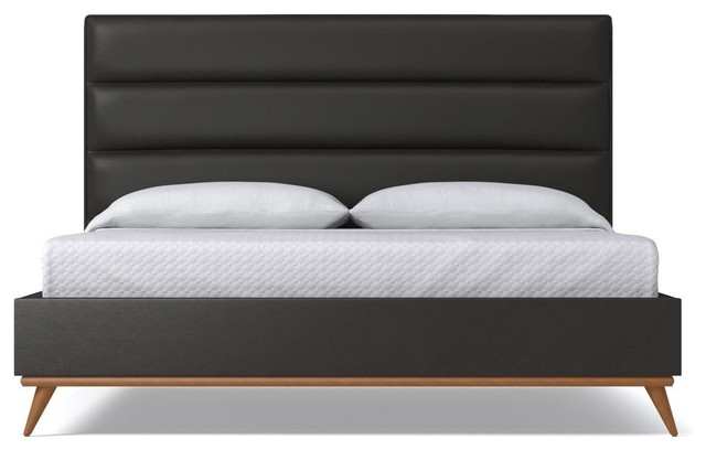 Cooper Upholstered Bed, Iron Vegan Leather, Eastern King.