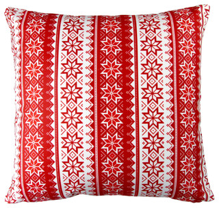 Artisan Pillows 17-inch Christmas Stars Stripes Red Holiday Throw Pillow