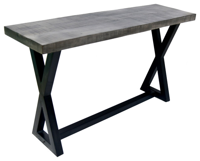 Rustic Iron Console Table ~ Solid mango wood cast iron accent table distressed gray