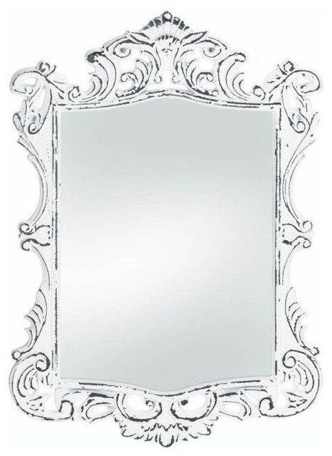 Regal White Distressed Wall Mirror by Accent Plus
