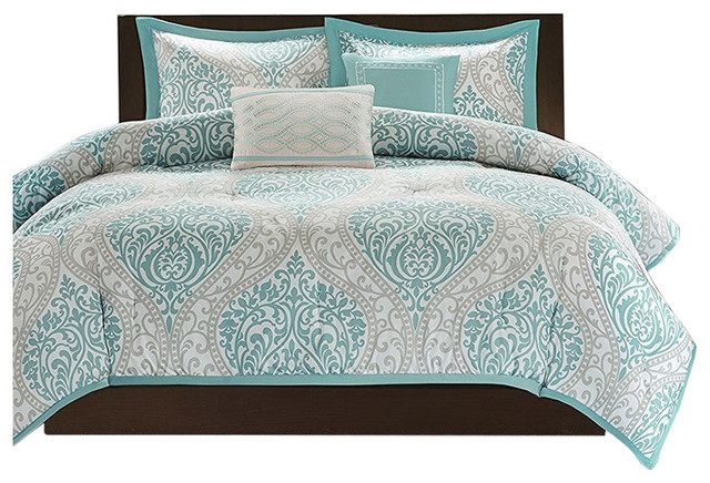 Full Queen Size 5 Piece Damask Comforter Set Light Blue White And Gray