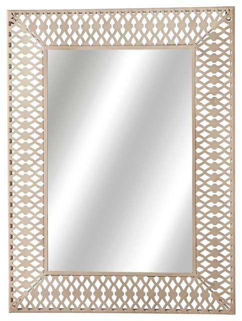Stamped Rectangle Wall Mirror White Contemporary Mirrors